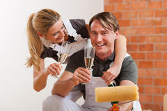 Couple moving in new apartment renovating Royalty Free Stock Images