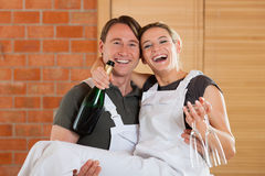 Couple moving in new apartment renovating Stock Images