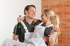 Couple moving in new apartment renovating Royalty Free Stock Image
