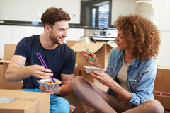 Couple Moving Into New Home Enjoying Takeaway Meal. Smiling At Each Other stock photo