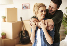 Couple moving new home Stock Image