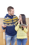 Couple moving into new home Stock Photo