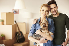 Couple moving new home stock photo