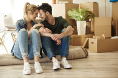 Couple moving new home Stock Images