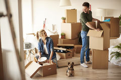Couple moving new home Stock Photos