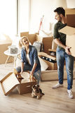 Couple moving new home Stock Photography