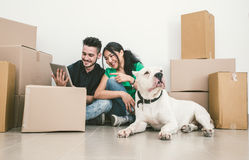 Couple moving new house. And checking solutions on the internet stock images