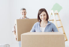 Couple moving into a new house Stock Image
