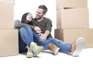 Couple moving in new house Stock Photography