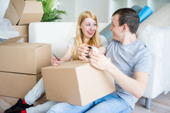 Couple moving into new house Royalty Free Stock Photo