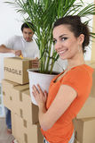 Couple moving plant into home Royalty Free Stock Photos