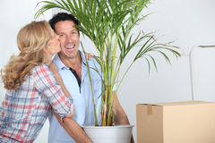 Couple moving in with plant Royalty Free Stock Photos