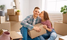 Couple moving to new apartment royalty free stock photo