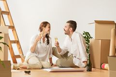 Couple moving to a new home. royalty free stock photo