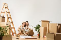 Couple moving to a new home. royalty free stock photos