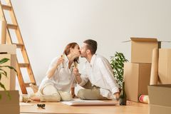 Couple moving to a new home. royalty free stock photography