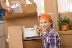 Couple moving to new place Royalty Free Stock Photos