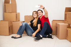 Couple moving together Royalty Free Stock Photo