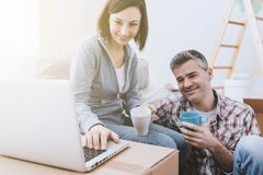 Couple moving in together royalty free stock photo