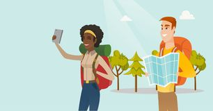 Couple of multiethnic travelers making selfie. vector illustration
