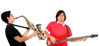 Couple of musicians Stock Images