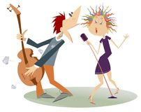 Couple Musicians, Singer Woman And Guitar Player Man Isolated Illustration Stock Photography