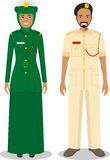 Couple of muslim policeman and policewoman standing together on white background in flat style. Police arabic concept Stock Images