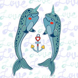 Couple of narwhals in love Royalty Free Stock Photography
