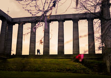 Couple at National Monument of Scotland royalty free stock photos