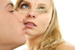 Couple natural kiss closeup portrait Stock Photography