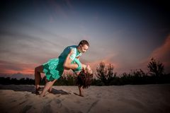 Couple, nature, beach, dancing Royalty Free Stock Image