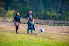 Couple in nature with dogs Royalty Free Stock Photography