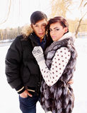 Couple on nature in winter Royalty Free Stock Photography