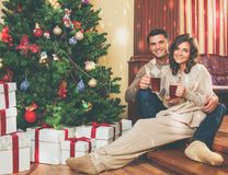 Couple near fireplace in house interior. Couple near fireplace in Christmas decorated house interior Royalty Free Stock Photography