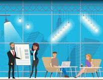 Couple near Flip Board. Freelancer on Coworking. Male Character Making Presentation in Creative Modern Open Space. Man and Woman Talking and Working at royalty free illustration