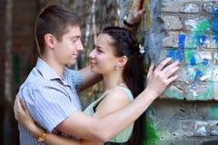 Couple near graffiti Royalty Free Stock Photo