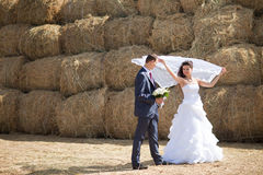 Couple near the hay Royalty Free Stock Photos