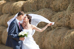Couple near the hay Royalty Free Stock Photo