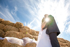 Couple near the hay Stock Images
