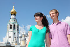 Couple near Holy Resurrection cathedral Stock Image