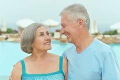 Couple near pool Stock Photo