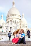 Couple near Scare-Coeur cathedral Royalty Free Stock Photos