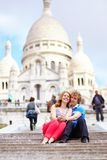 Couple near Scare-Coeur cathedral Royalty Free Stock Images