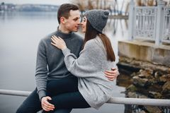 Couple near water royalty free stock image