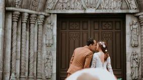 Couple Near on Wooden Sash Door Stock Photos