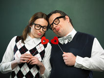 Couple of nerds in love Royalty Free Stock Photo