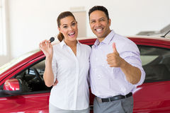 Couple new car key Stock Photo