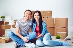 Couple in new flat Royalty Free Stock Photos