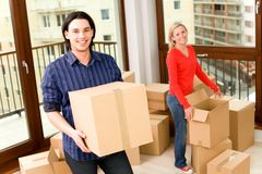 Couple in new home. Couple Moving Into New Home Royalty Free Stock Images
