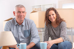 Couple at new home royalty free stock images
